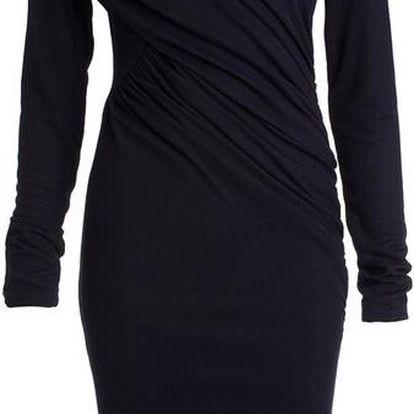 Dámské tmavě modré nařasené šaty s dlouhým rukávem CeMe London