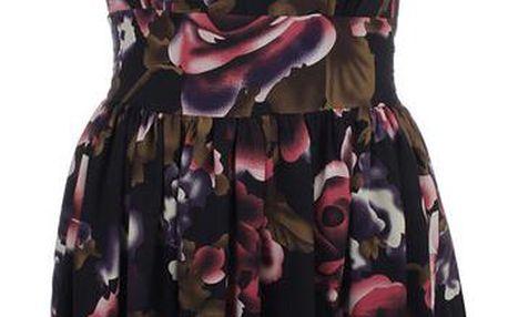 Dámské černé šaty s barevným květinovým vzorem Iska