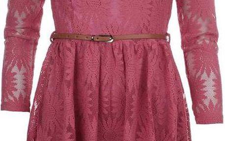 Dámské růžové krajkové šaty Iska