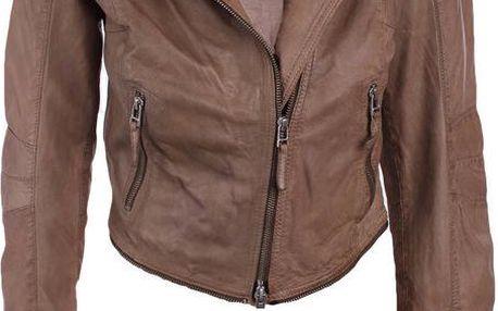 Dámská hnědá kožená bunda s odepínacím lemem Company&Co