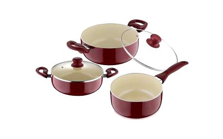 Sada nádobí s keramickým povrchem 5 ks, červená RENBERG