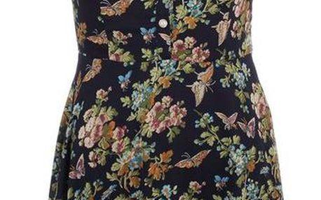 Dámské tmavě modré šaty s barevným květinovým potiskem a límečkem Iska