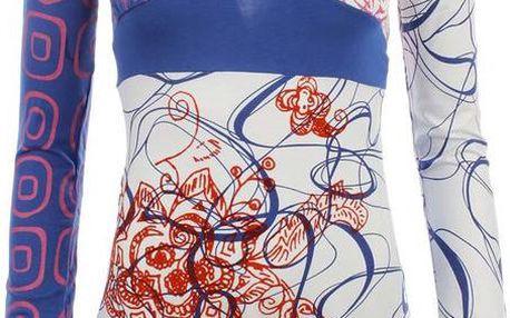 Dámské modro-bílé vzorované triko Dislay DY Design