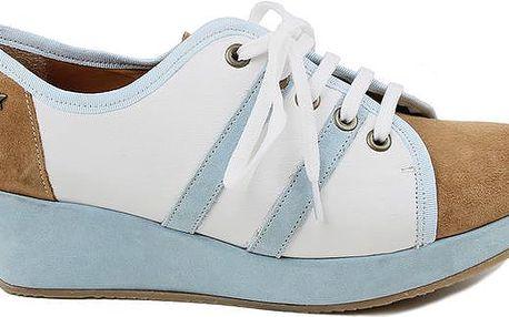 Dámské modro-bílo-hnědé tenisky na platformě Cubanas Shoes