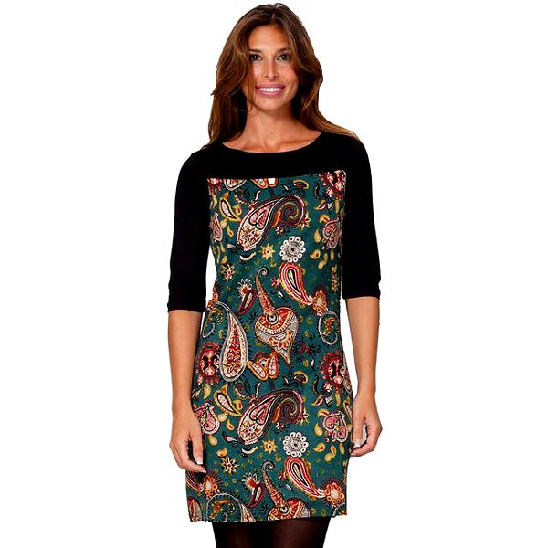 Dámské barevné šaty s černými rukávy Janis