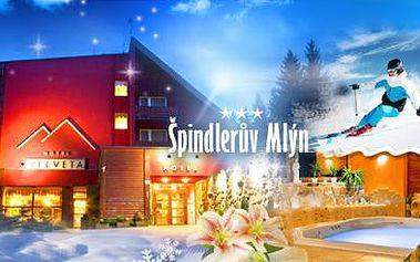 Wellness hotel Velveta, Špindlerův Mlýn! Bohatá POLOPENZE a relaxace v Římských LÁZNÍCH se sklenkou sektu!