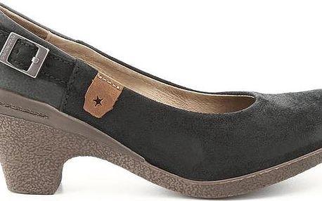 Dámské černé kožené lodičky s přezkou Cubanas Shoes