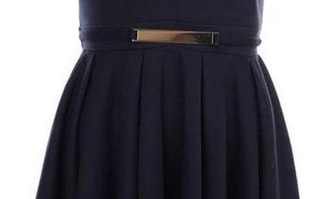 Dámské tmavomodré šaty s páskem Iska