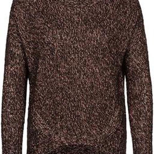 Dámský pletený svetr měděná/černá