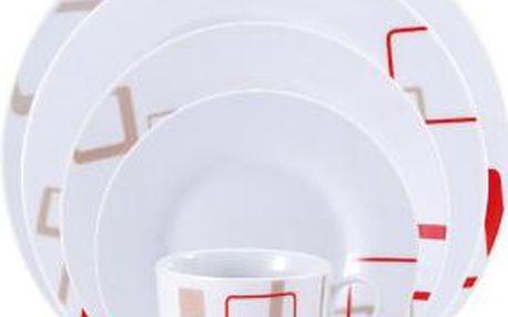 Jídelní sada talířů 30 ks OSLO, bílá / červeno-béžový dekor RENBERG
