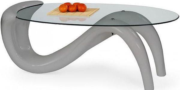 Konferenční stolek skleněný Cortina (Šedá)