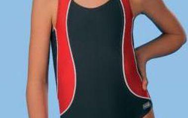 Dětské plavky jednodílné Otylka - Winner barva: šedo-červená, velikost: 140
