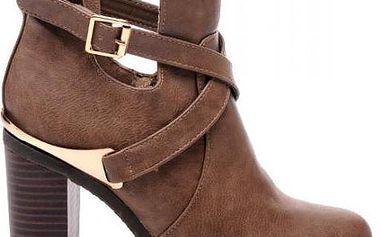 Oslňující dámské kotníčkové boty - cut out boots L820 - Fashion Boty Barva: tmavě hnědá, Velikost: 39