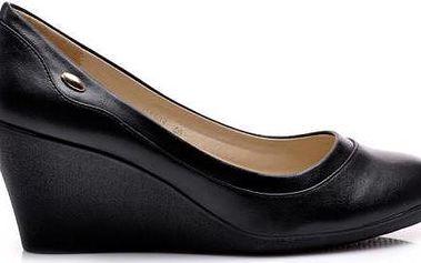 Černé lodičky na klínku C1503 - Fashion Boty Barva: černá, Velikost: 40