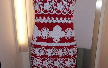 Šaty Wick M19958 - Gemini Barva: červeno-bílá, Velikost: 46