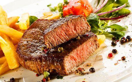 Masová delikatesa pro dva! 2x šťavnatý steak z hovězí roštěné s libovolnou přílohou a salátkem