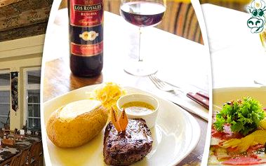 Jihoamerické steaky, předkrm i láhev vína pro dva