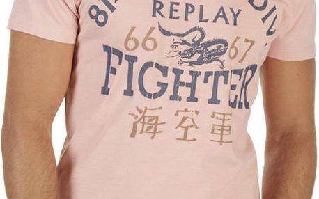 Pánské růžové tričko s potiskem Replay