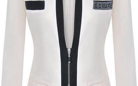 Dámské krémově bílé sako se zipem Giorgio Di Mare