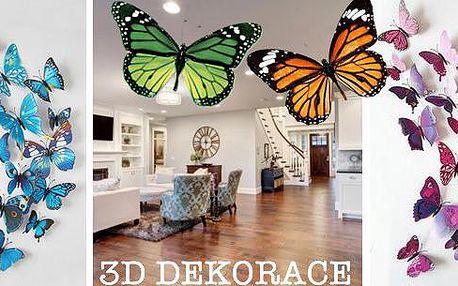 Jedinečná a oblíbená 3D dekorace motýlků zkvalitního PVC. Výběr zněkolika jedinečných barev pro dekoraci Vašeho bytu, nábytku a mnohé dalšího. Sada obsahuje 12 ksmotýlků (6 velkých a 6 středních) pro opětovné upevnění na vámi zvolené místo.