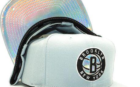 Kšiltovka Mitchell & Ness Slate Grey Foil Brooklyn Nets Grey Snapback