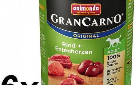 Velmi chutné krmivo v podobě konzervy pro dospělé psy Animonda Grancarno Adult - krůta, kachna 6 x 800g