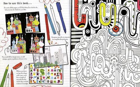 Kreativní kniha s nejrůznějšími obrázky k vymalování Drawing, doodling and colouring