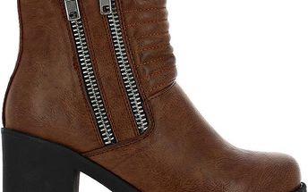 Dámské hnědé prošívané boty se zipy Shoes and the City
