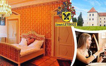 1 noc v historických komnatách zámku Letovice