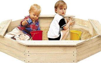 Dřevěné dětské pískoviště ve tvaru pravidelného osmiúhelníku se sedátky pro pohodlí vašich dětí Royal 8-hran