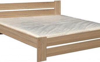 Dřevěná postel Pavla 180x200 cm s přírodním dekorem dub