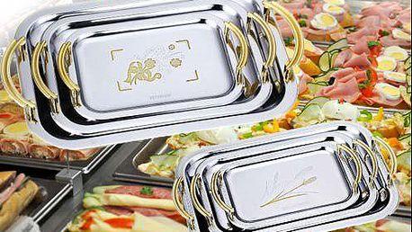 Sada 3 kusů kovových podnosů od značky Peterhof s různými motivy i poštovným
