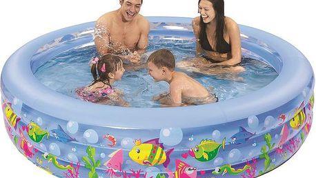 Nafukovací bazén Aquarium 152 x 50 cm je klasický kruhový nafukovací bazén s veselým potiskem