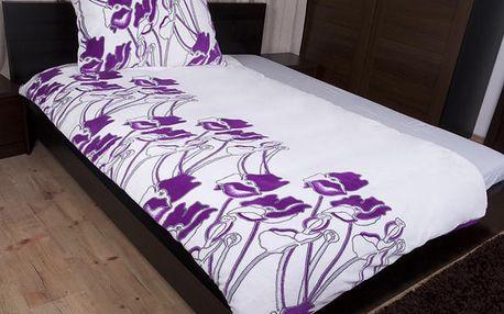 Máky fialové, mikroplyšové povlečení 140x200 cm, Vesna
