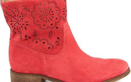 Dámské červené kotníčkové boty s perforací Giorgio Picino