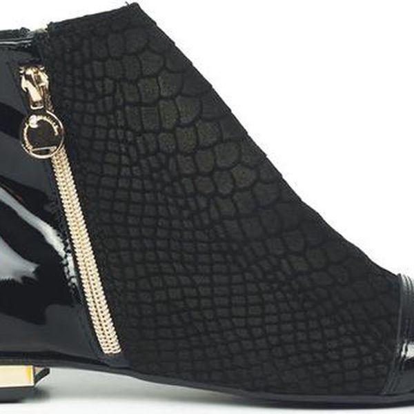 Dámské černé kotníkové boty na zip Joana and Paola