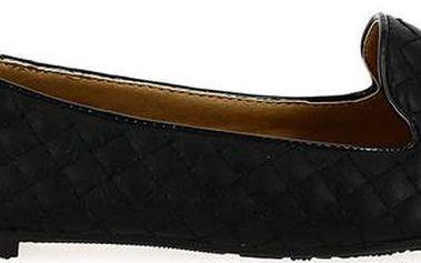 Dámské černé prošívané balerínky s lesklou špičkou Shoes and the City