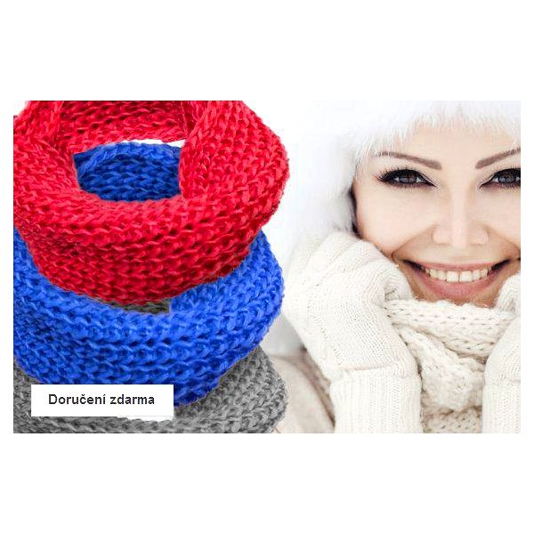 Výprodej zimních doplňků – dámské pletené šály a čepice