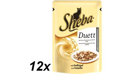Lahodká kapsička pro kočky - Sheba DUETT s drůbežím masem 12 x 85g