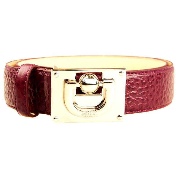 Dámský vínový pásek s velkou zlatou sponou DKNY