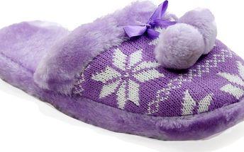 Papuče s pleteným norským vzorem