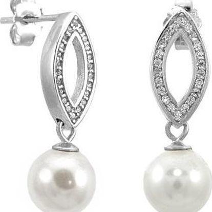 Stříbrné náušnice se syntetickou perlou silvego