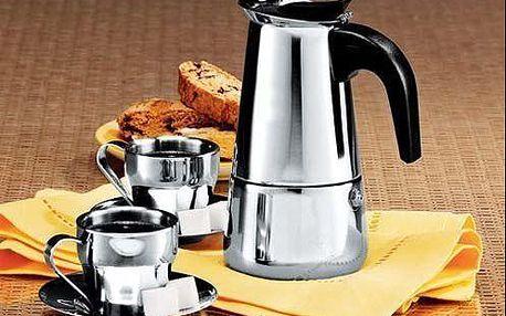 Elegantní italský kávovar z prvotřídní nerezavějící oceli až na 6 šálků kávy s poštovným.