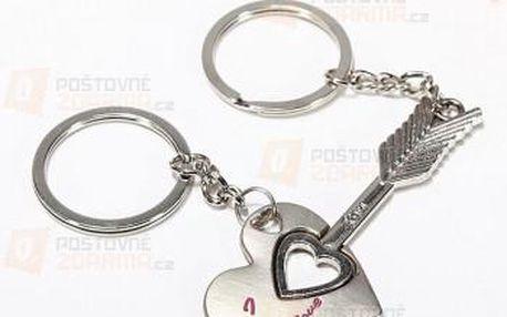 Klíčenka ve tvaru srdce a šípu - 2 kusy a poštovné ZDARMA! - 9999909584