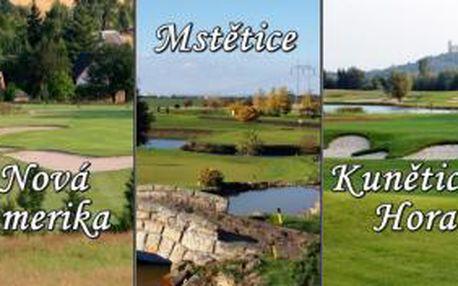 Golfová sezona začíná, odstartujte ji ve 3 oblíbených golfových resortech s 51% slevou. Získejte balíček green fee Kunětická Hora - Mstětice - Nová Amerika a vychutnejte si 3 výjimečná hřiště