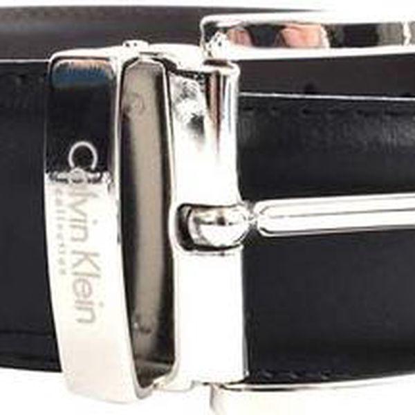 Pánský hladký kožený oboustranný pásek Calvin Klein - hnědo-černý