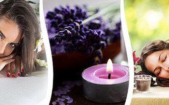 Levandulová relaxační masáž a nahřátí zad lávovými kameny pro jednoho či pár