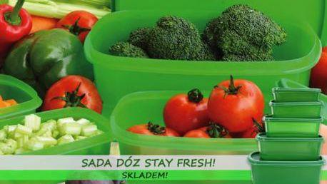 Sada pěti dóz Stay Fresh za nejnižší cenu! Pořiďte si šikovného pomocníka do kuchyně, díky dózám budou potraviny nejen čerstvé, ale i přehledně a úsporně uskladněné! Zboží je pro vás připraveno IHNED K ODBĚRU: osobně na Praze 1 nebo zaslání poštou!!