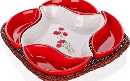 BANQUET Red Poppy servírovací misky v košíku 5 dílů