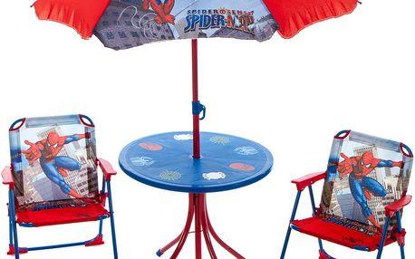 Dětský zahradní set 2 křesla, stůl a slunečník Spider man v dárkovém balení